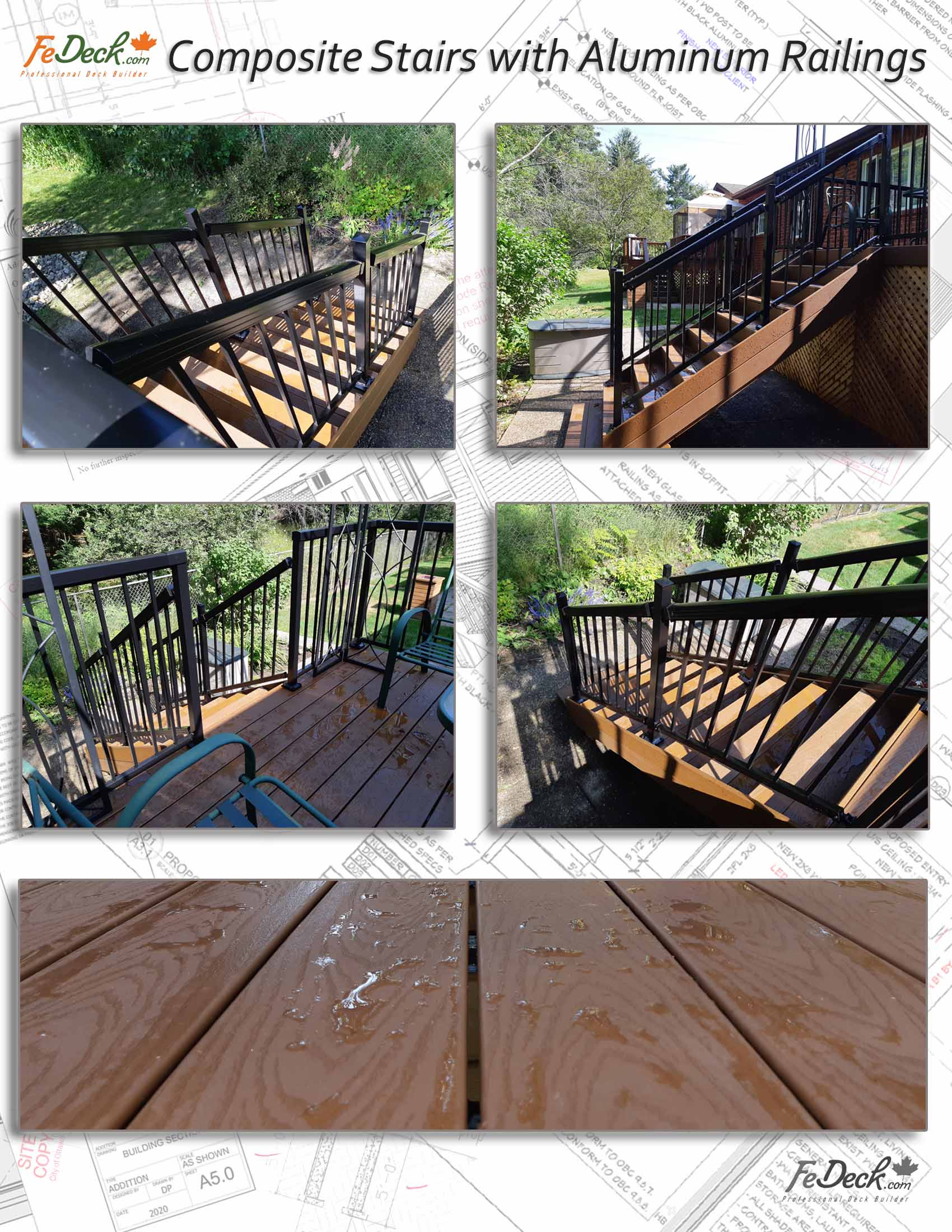 Brown Composite Deck Stairs with Aluminum Railings