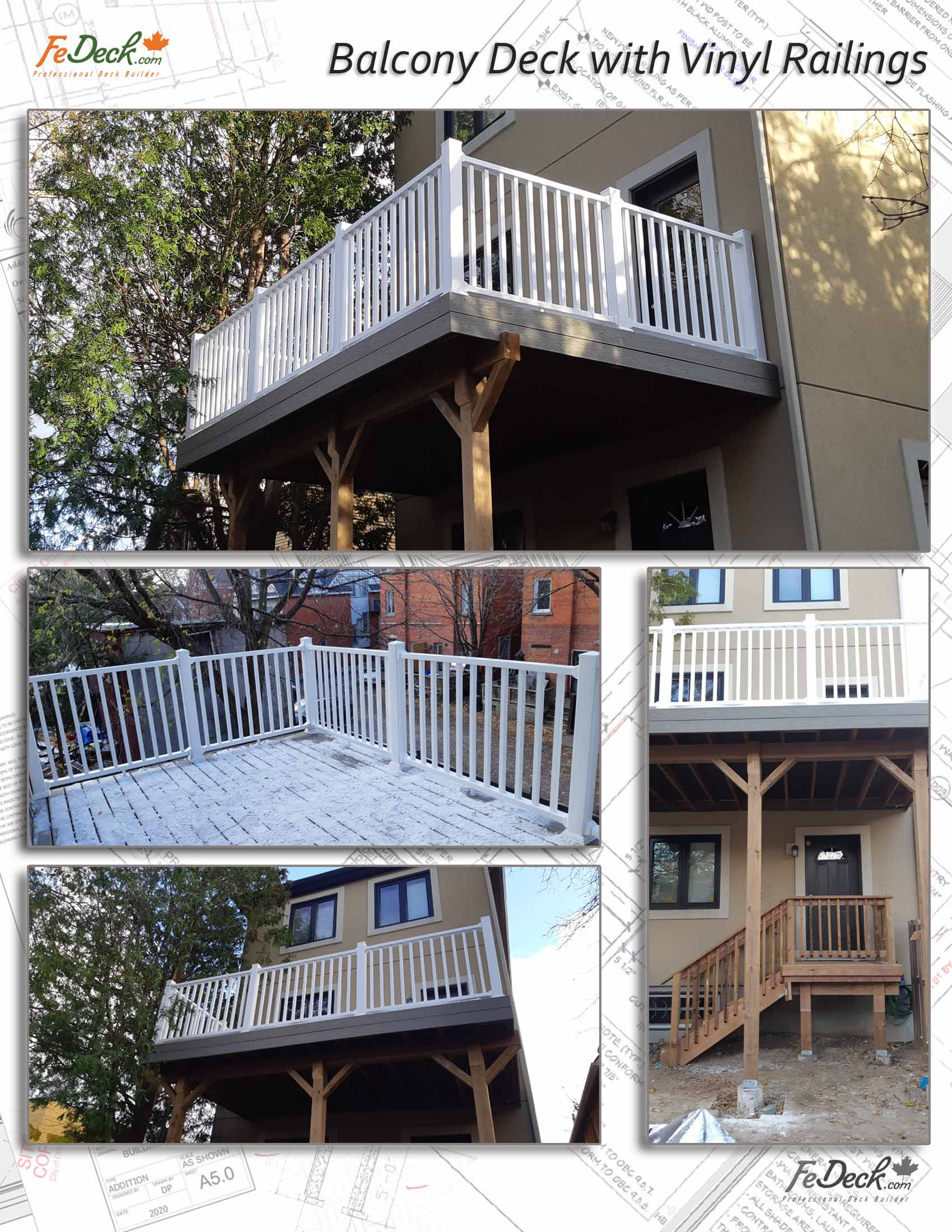 Composite Deck with white vinyl railings