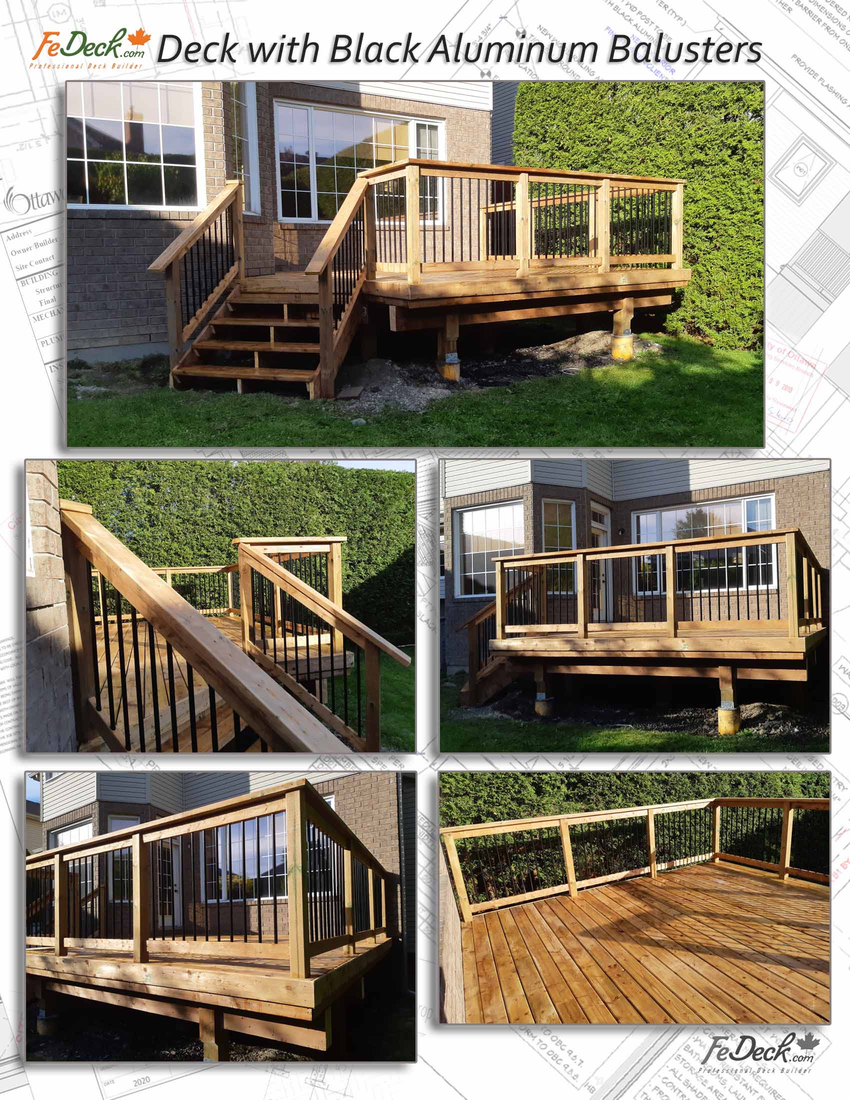 Deck with black aluminum balusters spindles